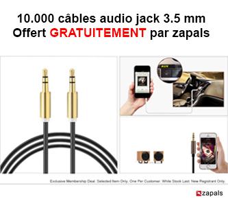 10.000 câbles audio jack 3.5 mm Offert GRATUITEMENT par zapals