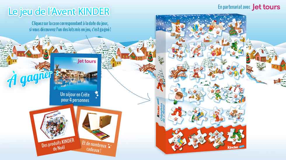 calendrier de l 39 avent kinder 1200 lots gagner. Black Bedroom Furniture Sets. Home Design Ideas