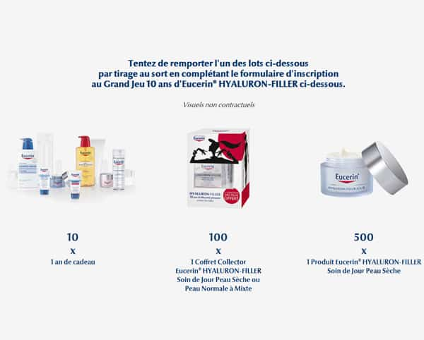 Grand Jeu Concours 10 ans d'Eucerin 610 Lots d'Eucerin HYALURON-FILLER à gagner !