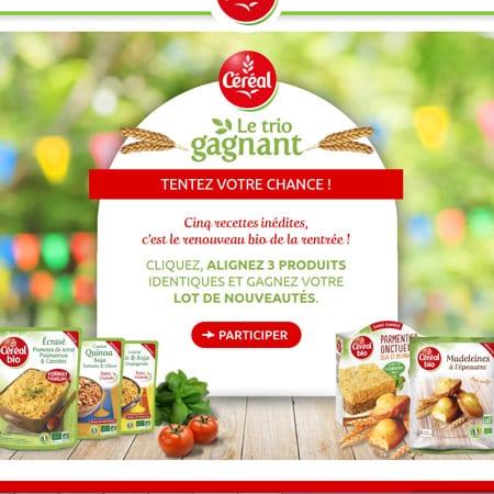 """Instant gagnant Gagner 250 recettes gratuit de la nouvelle gamme """"Céréal bio"""" !"""