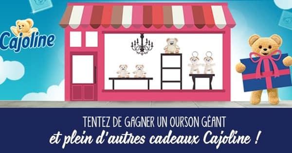 Gagner un Ourson géant et d'autres cadeaux Cajoline gratuits !