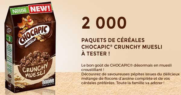 2 000 Paquets de céréales Chocapic Crunchy Muesli à tester !