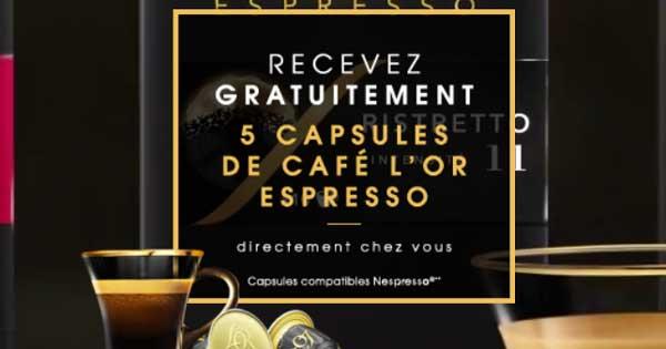5 Échantillons Gratuit de Capsules en aluminium du café l'OR Espresso