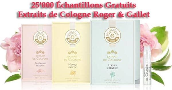 25'000 Échantillons Gratuits Extraits de Cologne Roger & Gallet