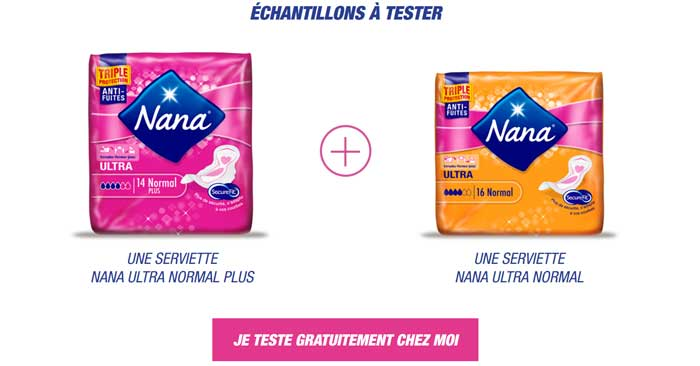 Échantillon Gratuit Serviette Ultra Normal de Nana