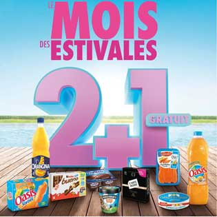 Catalogue Carrefour Le Mois des Estivales 2 2+1 Gratuit du 05 au 11 Juin 2018