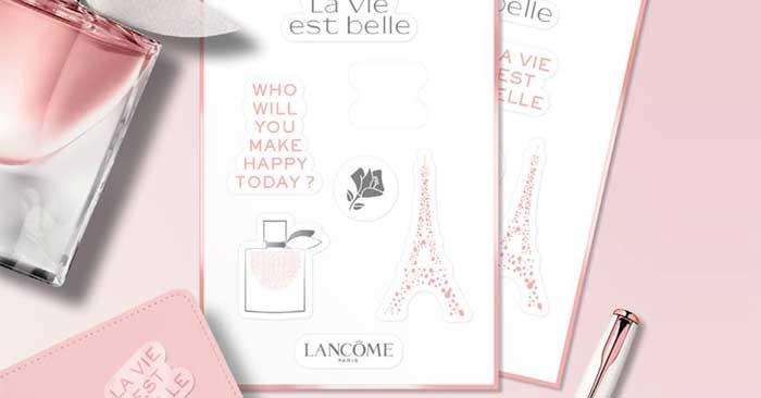 Planche de stickers La vie est belle Lancôme Offerte chez Marionnaud